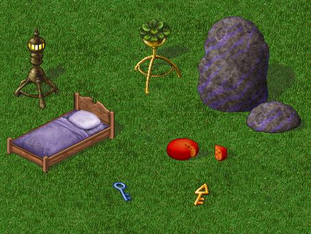 Bed, Rock, Lantern, Cheese, Keys - Furcadia