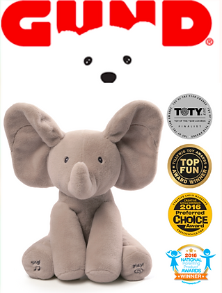 gund peekaboo puppy, elephant plush toy, gund, plush toys, stuffed animal, tv marketing, infomercials, direct response marketing