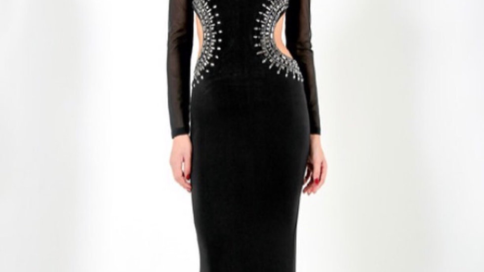 LOWRI - BLACK LONG SLEEVED EMBELLISHED EVENING DRESS