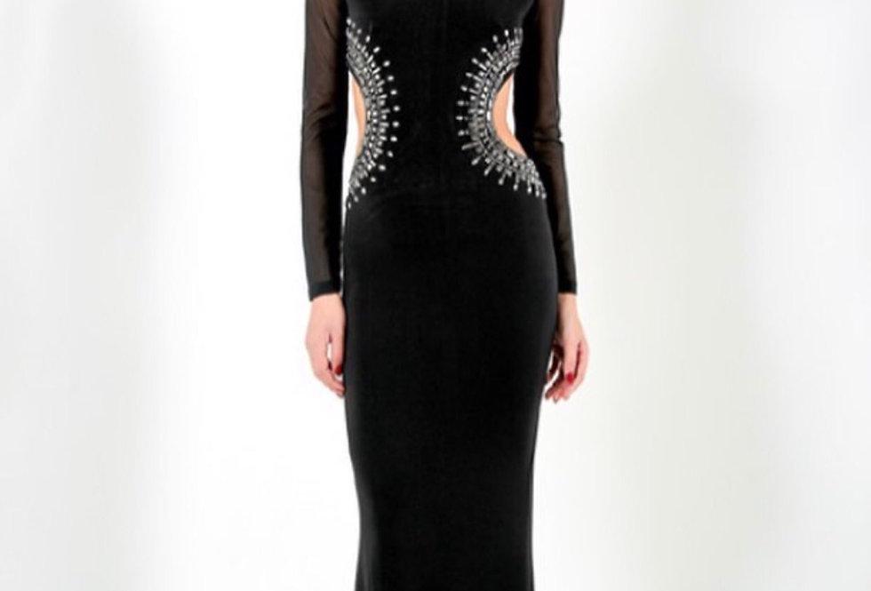 LOWRI - BLACK LONG SLEEVED EMBELLISHED EVENING DRESS