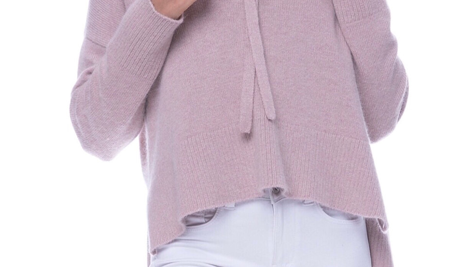 SWEATER KNIT HOODIE WITH LACE UP DETAIL