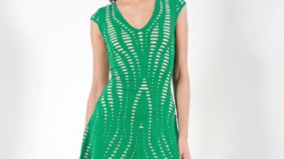 EILEEN - GREEN AND NUDE CUT-OUT SHIFT DRESS