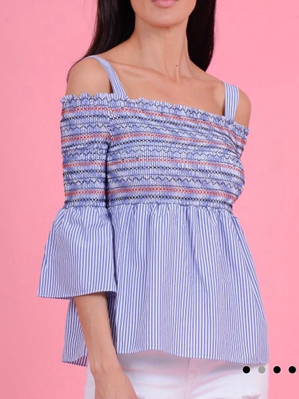 STARDUST - BLUE AND WHITE STRIPED EMBROIDERED TOP
