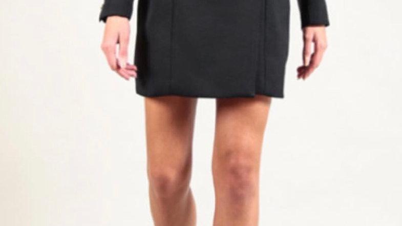 FREDA - BLACK OFF-SHOULDER LONG-SLEEVED TUXEDO DRESS