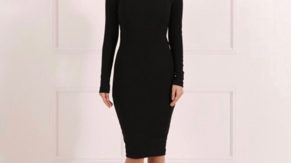 CARMEL BLACK LONG SLEEVED BODYCON DRESS WITH CAGED EFFECT CUT OUT BACK