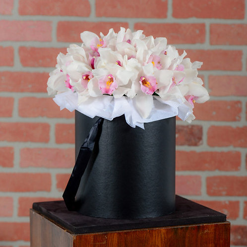 Cymbidium Orchid Hat Box Bouquet