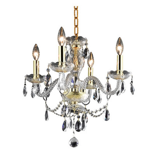 Princeton 4 Arm Crystal Chandeliers - Gold