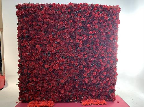 8x8 Red Rose Flower Wall Backdrop