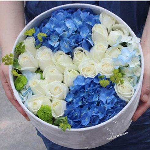 Blue and White Rose and Hydrangea Hat Box Bouquet