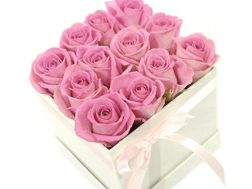 Roses in Square Hat Box
