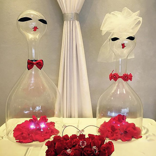 "Bride and Groom Glass Figure Props over 24"" Inches tall"