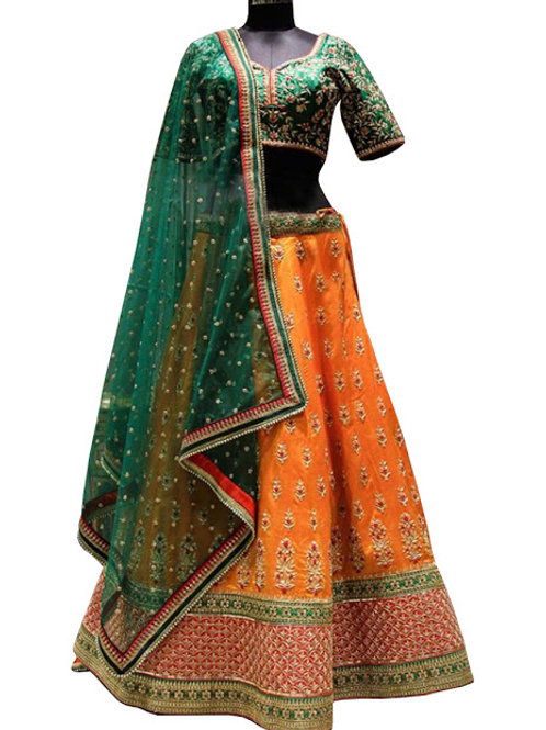 Silk, Orange Lahenga, Green Dupatta, Thread Work , Hand Work,
