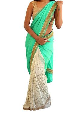 Buy Georgette Light Green & Off White Replica Saree