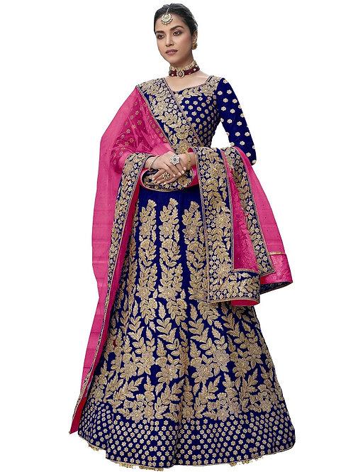 Heavy Work Lehenga Choli, Velvet, Embroidered Lehenga Choli, Lace Dupatta, Bridal, Blue Lehenga Choli