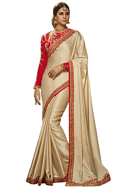 Buy Chiffon Silk Cream Replica Saree