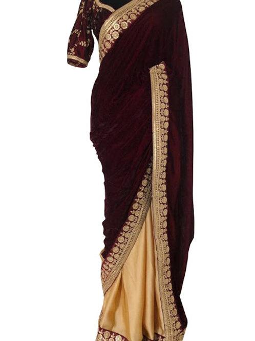 designer classy collection, velvet saree, silk saree, maroon saree, lace work, sequence work, thread work, lace work
