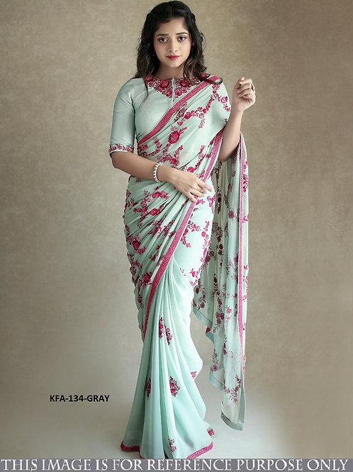 georgette saree, embroidery work saree, work blouse, latest collection