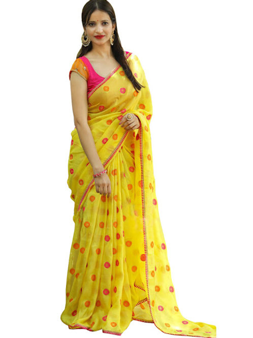 latest collection, yellow saree, thread work, embroidery work, red blouse, under 1000
