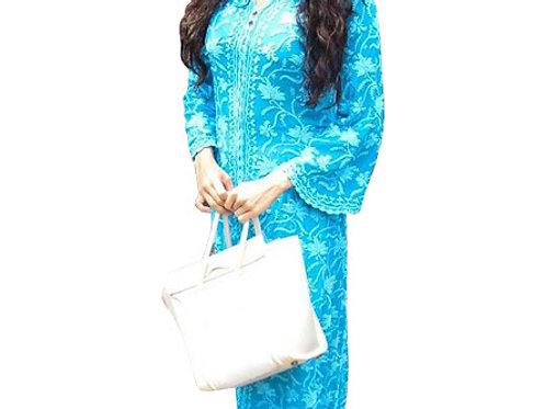 Jhanvi Kapoor Pure Cotton Sky Blue With White Kurti Style Palazzo