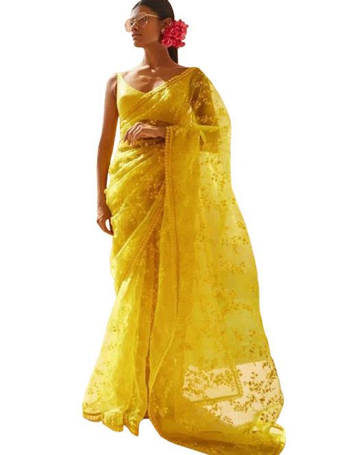 designer saree, replica Alia bhatt saree, yellow saree, thread work saree, yellow blouse, party wear