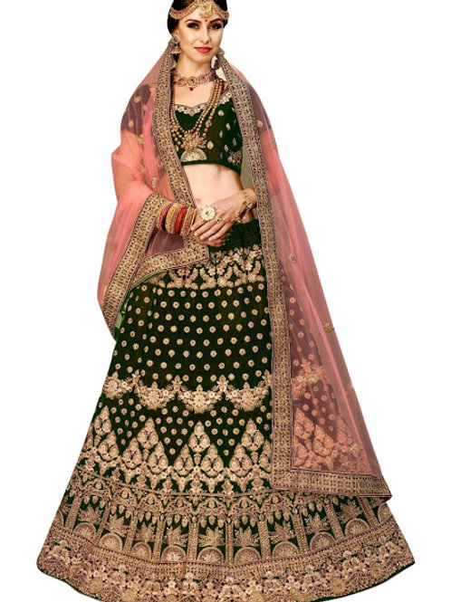 Velvet Lahengas, Velvet Blouse, Net Dupatta, Dark Green Lahenga Choli, ghaghra Choli, Chaniya Choli, Bridal Collection