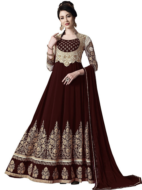 Maroon Salwar Suits, Maroon Heavy Work Salwar Suits, Faux Georgette Salwar Suits