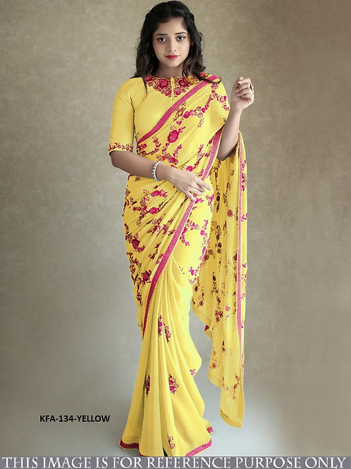 New Arrival Yellow Georgette Saree