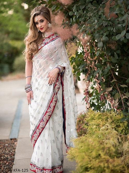 latest white saree, less work, sequence saree, plain saree, red blouse