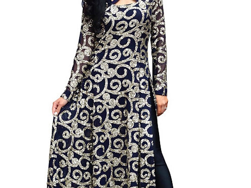 Buy Georgette Navy Blue Replica Gown