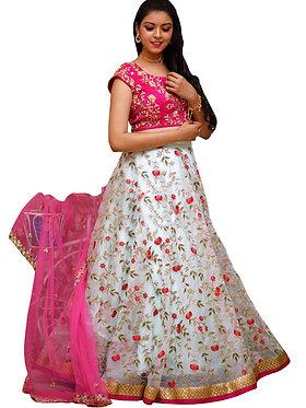 Buy Tissue White Bollywood Replica Lehenga Choli