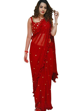 Buy Georgette Red Replica Saree