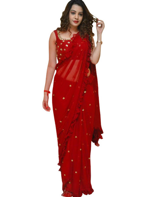 designer saree, red saree, georgette saree, sequence saree, red blouse, work blouse, trending saree, demanding sare