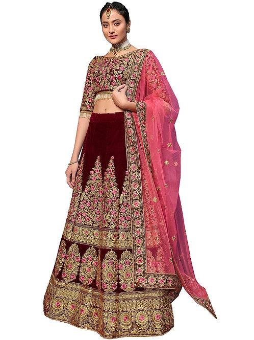 Heavy Work Lehenga Choli, Velvet, Embroidered Lehenga Choli, Lace Dupatta, Bridal, Maroon Lehenga Choli