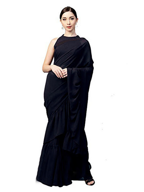 casual saree, plain saree, black saree, lace work, sleev less blouse, plain black blouse under 1000