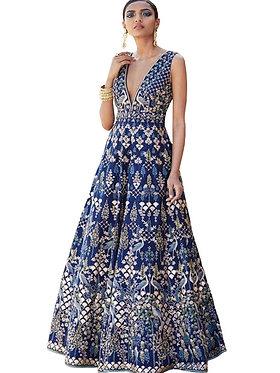 Buy Taffeta Silk Blue Replica Gown