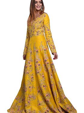 Buy Banglori Silk Yellow Replica Gown