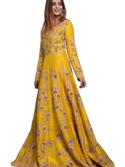 banglori silk gown, isha gupta replica gown, yellow gown, embroidery work, party wear, casual wear, designer gown demanding