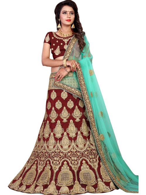 latest collection, maroon lehenga choli, embroidery work, high quality, bride collection, under 3500