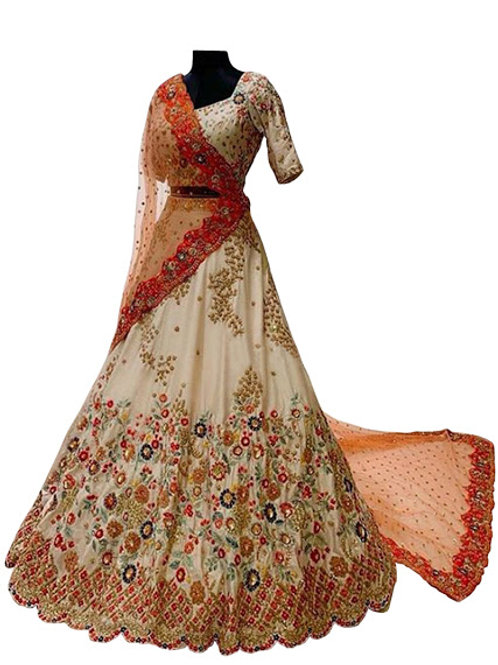 Silk Blouse, Silk Lahengas, Net Dupatta, White Lahenga Choli, Bridal Lahenga choli, Exclusive Designer Lahenga Choli,