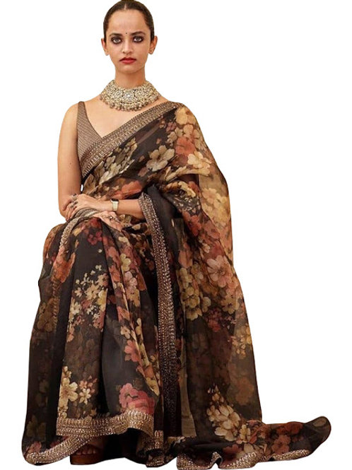 new collection, coffee digital printed saree, lace work, plain blouse, party wear