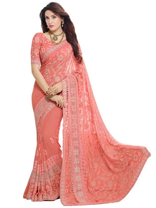 designer saree, chiffon peach saree, embroidery work, lace work, peach blouse