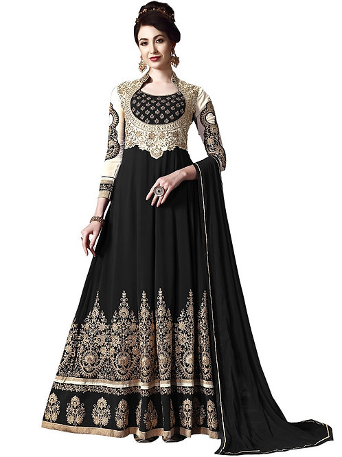 Black Salwar Suits, Black Heavy Work Salwar Suits, Faux Georgette Salwar Suits