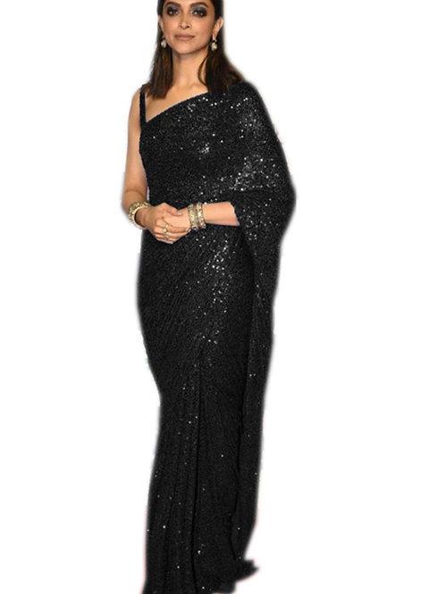party wear saree, blue dipika padukon saree, sequence saree, black blouse