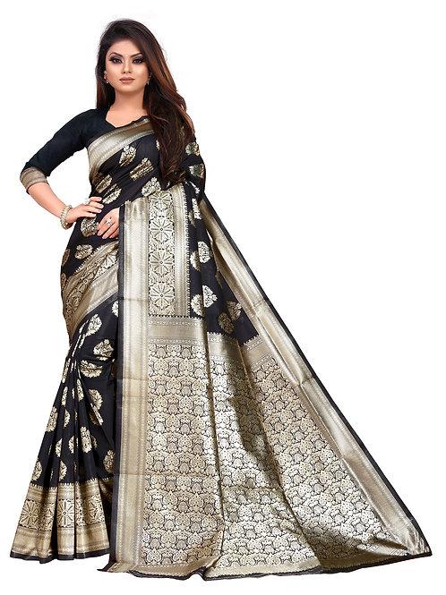 heavy silk saree, black printed saree, lichi silk saree, plain blouse, replica saree