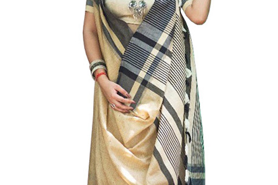 Buy Cotton Silk Cream Replica Saree