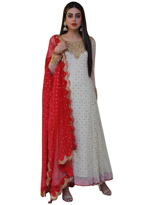 new classy designer anarkali, white and red anarkali, thread work, anarkali with dupatta, embroidery work, 2020 anarkali