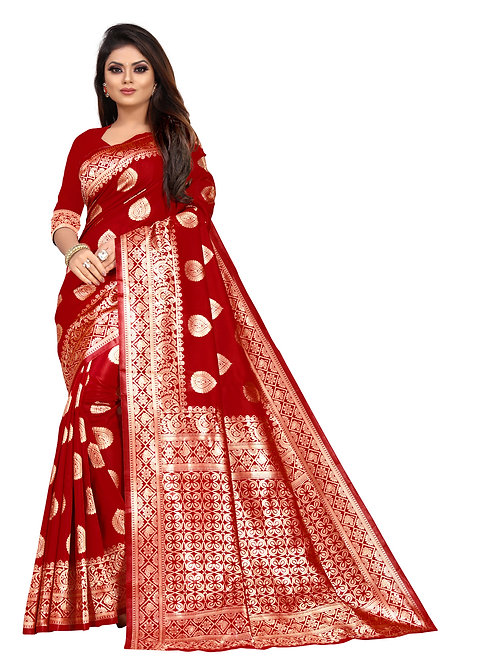 heavy lichi silk saree, printed saree, plain blouse, red saree, new collection