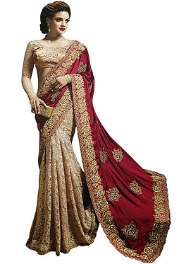 Buy Silk Georgette With Russell Net Cream & Maroon Replica Saree