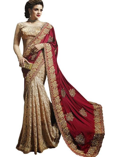 Designer collection, cream and maroon silk saree, embroidery saree, heavy lace work, high demanding
