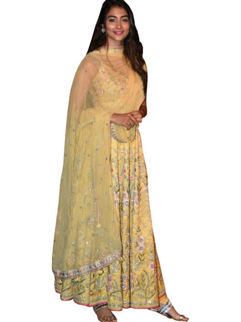 new collection, high demanding, yellow gown, pooja hegde anarkali gown, thread work, party wear